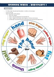 English Worksheet: spinning wheel bodyparts 2 THE HAND