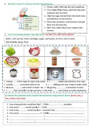English Worksheet: Food (recipe of salad / verbs of cooking / how much_how many