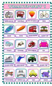 English Worksheets: Transport Part 1