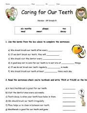 English Worksheets: Caring For our Teeth Worksheet