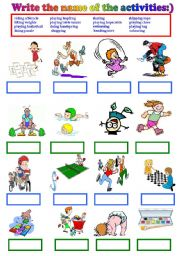 English Worksheet: writing the name of  leisure time activities