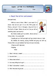 English Worksheets: Letter to a penfriend