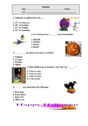 English worksheet: Halloween quiz
