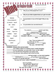 English Worksheets: Mine by Taylor Swift