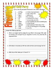 English Worksheets: Firework Katy Perry (follow up questions)