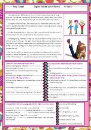 English Worksheet: 8th form english test