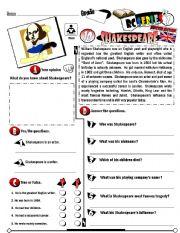 English Worksheet: RC Series_British Edition_10 Shakespeare (Fully Editable + Key)