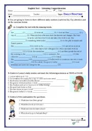 English Worksheets: Daily routines - listening 7th