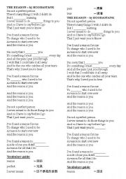 English worksheet: THE REASON – by HOOBASTANK