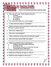 English Worksheets: Taylor Swift Mine- follow up questions