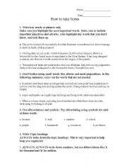 English Worksheets: taking notes