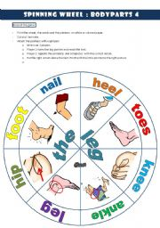 English Worksheet: spinning wheel bodyparts 4 THE LEG