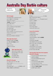 English Worksheet: Australia day Barbie culture
