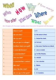 English Worksheets: question word