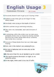 English Worksheets: ENGLISH USAGE 3, PART 1 & 2 ARE INCLUDED, COMMON ERRORS WITH KEY, INTERMEDIATE TO ADVANCED LEVEL, FULLY EDITABLE