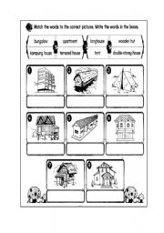 English teaching worksheets Types of houses