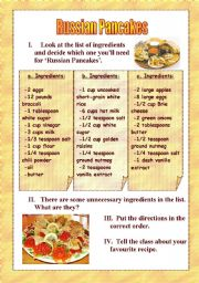 English Worksheet: Russian Pancakes Recipe