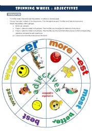 English Worksheet: ADJECTIVES WHEEL
