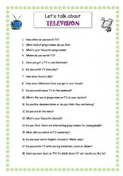 English Worksheets: Let�s talk about TV programmes