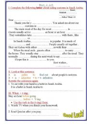 English Worksheets: writing a letter