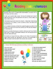 English Worksheet: Reading Comprehension - 6th form