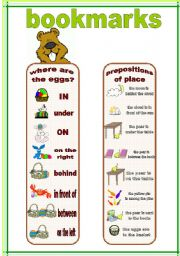 English Worksheets: bookmarks and exercises 7 (22.02.12)