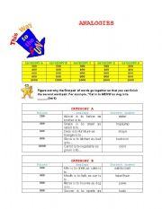 English worksheet: ANALOGY GAME