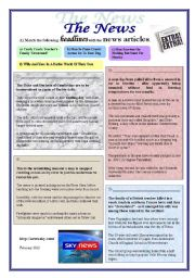 English Worksheets: Headlines, news articles (2 pages)