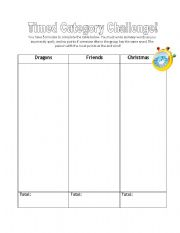 English Worksheets: Timed Category Challenge!!