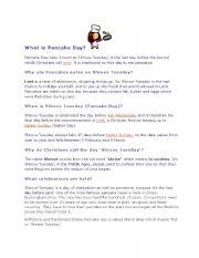 English Worksheet: What is pancake day
