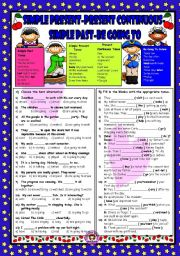 English Worksheet: Simple Present - Present Continuous - Past Simple - Be Going To Future
