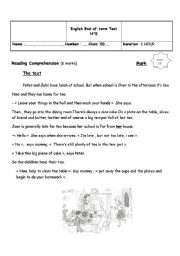 English Worksheet: end of  term test 2 8 th form