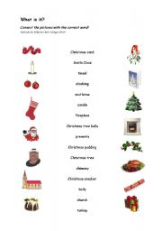 english worksheet christmas words