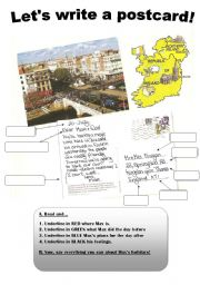 English Worksheet: Writing a postcard from holiday!