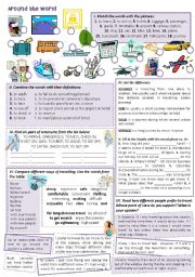English Worksheet: AROUND THE WORLD. Different ways of traveling - vocabulary intro