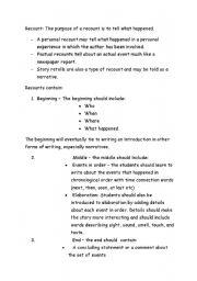 English Worksheets: recount