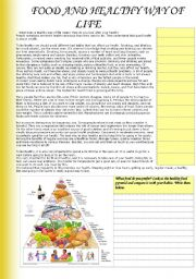 English Worksheet: Food and healthy way of life