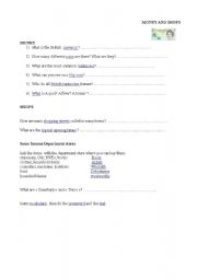 English worksheet: webquest British currency and shops
