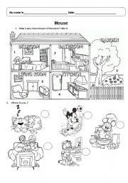 English teaching worksheets: Parts of the house