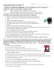 English Worksheet: Capitalization- Day 9