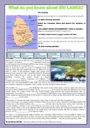 English Worksheet: WHAT DO YOU KNOW ABOUT SRI LANKA?