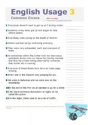 English Worksheets: ENGLISH USAGE 2   2nd part COMMON ERRORS!!! WITH KEY , INTERMEDIATE/ADVANCED LEVEL, ENGLISH USAGE 1 IS ALSO INCLUDED,EDITABLE