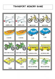 English Worksheets: Transports - Memory Game