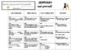 English Worksheet: Jeopardy Game. Revision to start classes