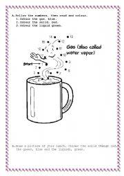 English worksheets: Solids Liquids gas