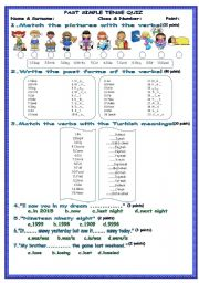English Exercises: Irregular Verbs Quiz