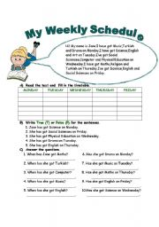 English Worksheets: My weekly schedule