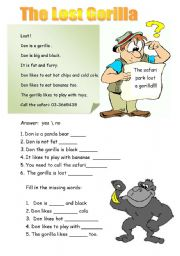 English Worksheets: The lost gorilla