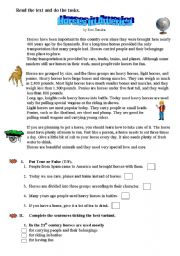 English Worksheets: Reading about Horses