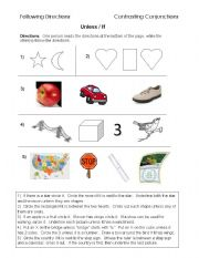 English Worksheet: Unless and if